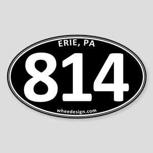 Black Erie, PA 814 Sticker (Oval)
