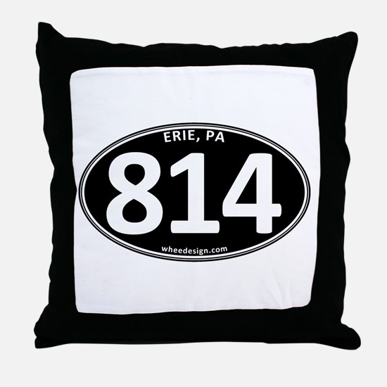 Black Erie, PA 814 Throw Pillow