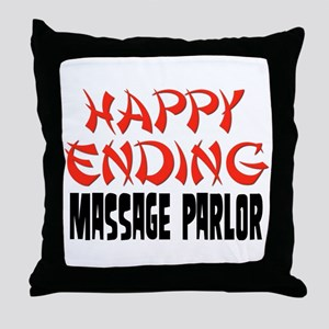 Happy Ending Massage Parlor Throw Pillow