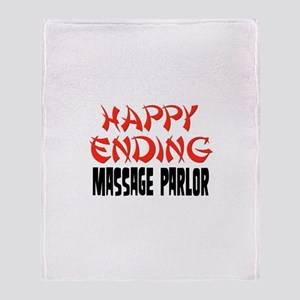 Happy Ending Massage Parlor Throw Blanket