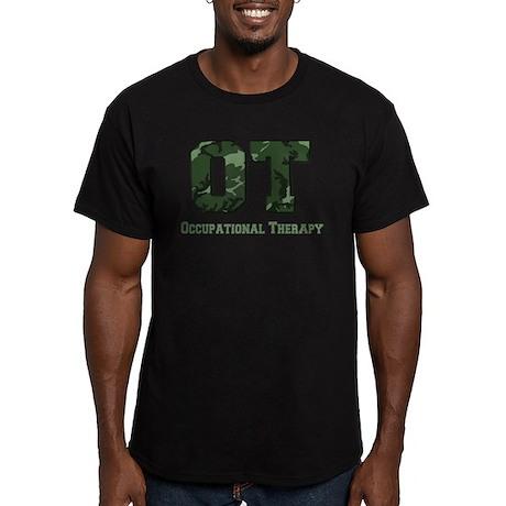 Dark Green Camo Men's Fitted T-Shirt (dark)