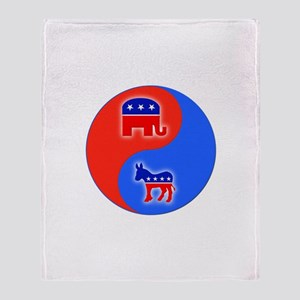 Republican Democrat Yin Yang Throw Blanket