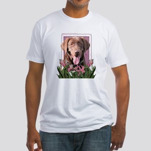 Mothers Day - Pink Tulips Fitted T-Shirt