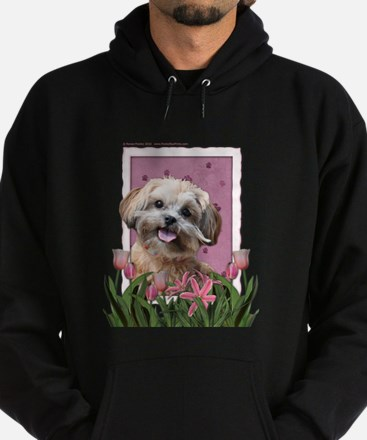 Mothers Day GoldenDoodle Pink Tulips Hoodie (dark)