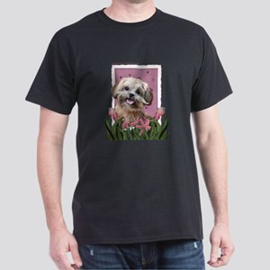 Mothers Day GoldenDoodle Pink Tulips Dark T-Shirt