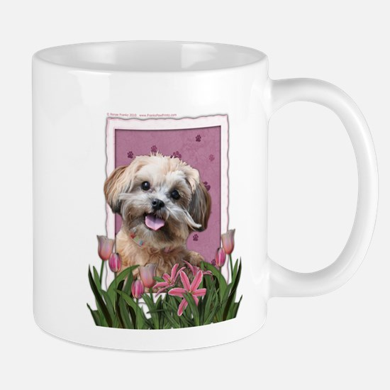 Mothers Day GoldenDoodle Pink Tulips Mug