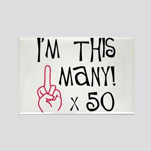 50th birthday middle finger salute Rectangle Magne