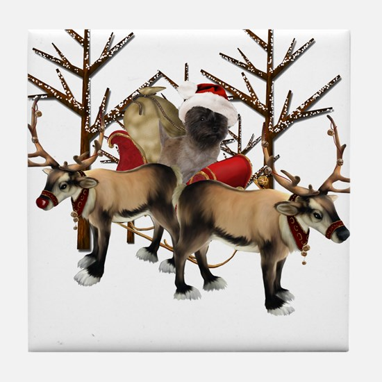 Santa Cairn Terrier Tile Coaster