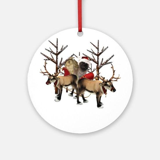 Santa Cairn Terrier Ornament (Round)