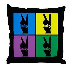 Color Peace Sign Gear Throw Pillow