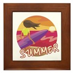 Female Surf Framed Tile