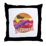 Female Surf Throw Pillow