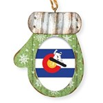 Colorado Flag Snowmobiler Mitten Ornament