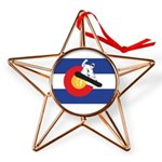 Colorado Flag Snowmobiler Copper Star Ornament