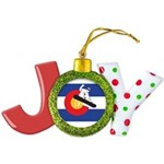 Colorado Flag Snowmobiler Joy Ornament