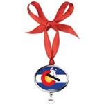 Colorado Flag Snowmobiler Oval Year Ornament