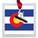 Colorado Flag Snowmobiler Square Glass Ornament