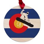 Colorado Flag Snowmobiler Maple Round Ornament