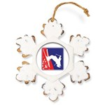 A Snow Skier Doing Flip Rustic Snowflake Ornament