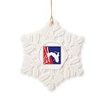 A Snow Skier Doing Flip Upside Snowflake Ornament