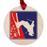 A Snow Skier Doing Flip Maple Round Ornament