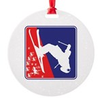 A Snow Skier Doing Flip Upside Down Round Ornament
