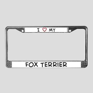 I Love Fox Terrier License Plate Frame