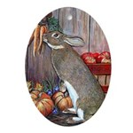 Lil Brown Rabbit Oval Ornament