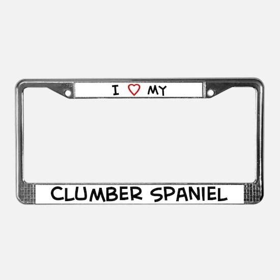 I Love Clumber Spaniel License Plate Frame