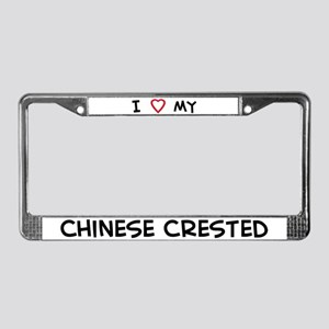 I Love Chinese Crested License Plate Frame
