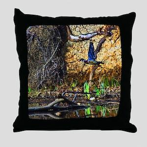 Wood Duck in Flight Throw Pillow