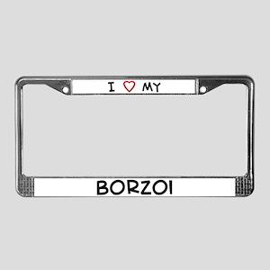 I Love Borzoi License Plate Frame