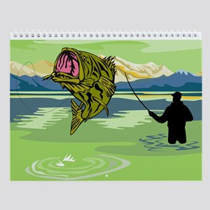 Fly fisherman fishing Wall Calendar