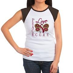 Throat Cancer Peace Love Cure Women's Cap Sleeve T
