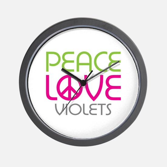 Peace Love Violets Wall Clock