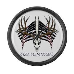 Free men hunt Large Wall Clock