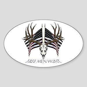 Free men hunt Sticker (Oval)