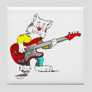 Catoons™ Bass Guitar Cat Tile Coaster