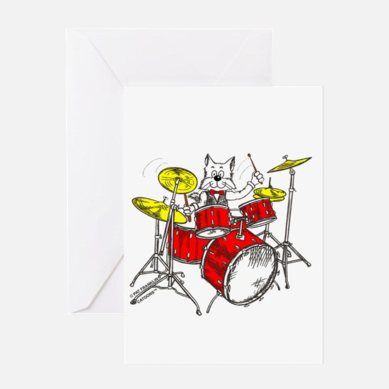 Catoons™ Drums Cat Greeting Card
