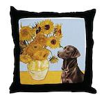 Sunflowers / Choc Lab 11 Throw Pillow