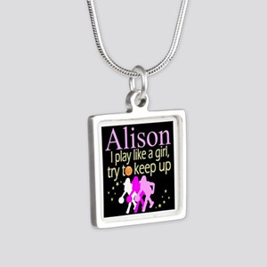 PLAY BASKETBALL Silver Square Necklace