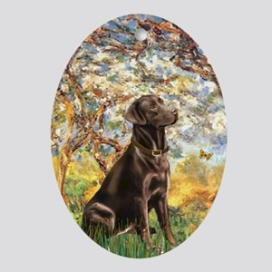 Spring / Choc Lab 11 Ornament (Oval)