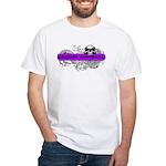 Grimm Apparel's Purple Logo White T-Shirt