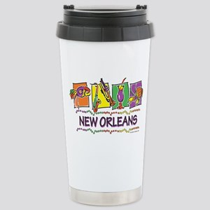 New Orleans Squares Stainless Steel Travel Mug