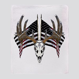Whitetail skull on old glory Throw Blanket