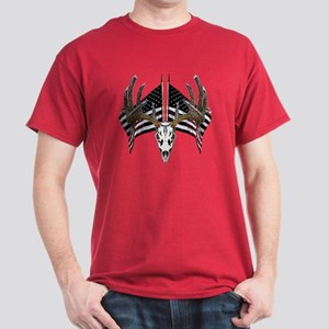 Whitetail skull on old glory Dark T-Shirt
