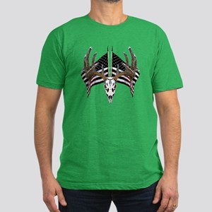 Whitetail skull on old glory Men's Fitted T-Shirt
