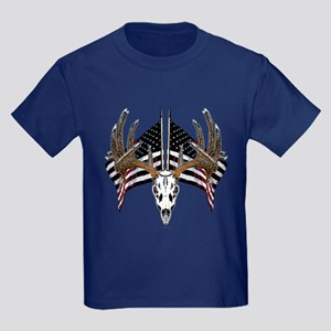 Whitetail skull on old glory Kids Dark T-Shirt