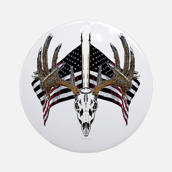 Whitetail skull on old glory Ornament (Round)