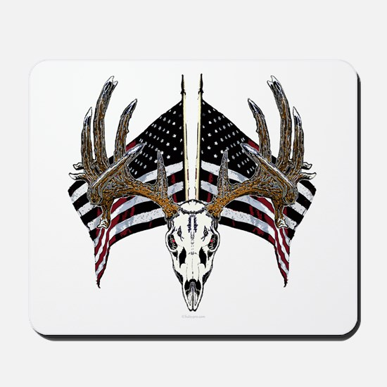Whitetail skull on old glory Mousepad